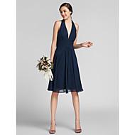 Lanting Knee-length Chiffon / Satin Bridesmaid Dress - Dark Navy Plus Sizes / Petite Sheath/Column Halter