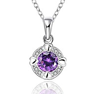 Round Shape Silver Plated Necklace with Zircon Pendant  (2 color)(1Pc)