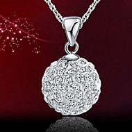 Women's Silver Pendant Necklace With Rhinestone