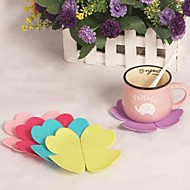 """Leaves Silicone Cup Mat Heat Resistant to High Temperature Prevent Slippery 4""""x4""""x0.1""""(Color Random)"""