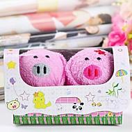 fibre de forme de cadeau d'anniversaire de porc serviette créatrice (couleur aléatoire) (2 pcs / set)