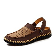 Men's Spring Summer Slingback Leather Casual Flat Heel Brown Khaki