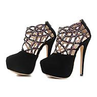 Suede Women's Stiletto Heel Round Toe Pumps with Zipper  Shoes