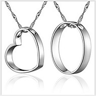 Couples' Silver Couple Heart  Necklace (A pair of selling)