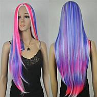 Women's New Charming Red Blue Mix Color Long Curly Cosplay Wig with None Bang