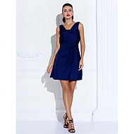 Homecoming Cocktail Party/Holiday Dress - Dark Navy Sheath/Column Cowl Short/Mini Jersey
