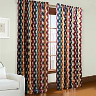 פאנל אחד טיפול חלון מעצב , משובץ / משבצות חדר שינה פוליאסטר חוֹמֶר וילונות וילונות קישוט הבית For חַלוֹן