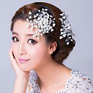 Femme Alliage / Imitation de perle / Zircon Casque-Mariage / Occasion spéciale Peigne / Fleurs Clair / Blanc