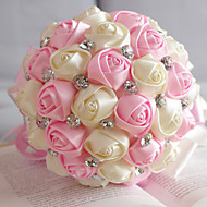 Classic Ribbon Roses with Acrylic Crystal Wedding Bouquet