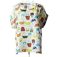 Camisa (Chifon) Casual/Estampado - Fina - Padrão