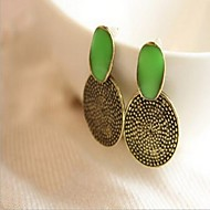 Women's Green Circle Carved Earrings