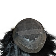 Stock Jet Black 1# Mens Toupee 100% Human Hair System Hair Replacement Base Size Adjustable PU Around