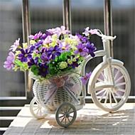 "8 ""h moderne veelkleurige margrieten op witte mand fiets"