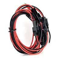 2pin pc plug draden - zwart + rood (5 stuks / 40cm)