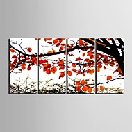 E-HOME® Stretched Canvas Art Red Autumnal Leaves Decorative Painting Set of 4