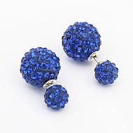 Women's Luxurious Rhinestone Pave Round Beads Stud Earrings