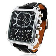 gepersonaliseerde modieuze Argus Panoptes - heren horloge militair triple-beweging vierkante wijzerplaat lederen band