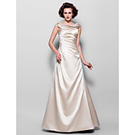A-line Plus Sizes Mother of the Bride Dress - Champagne Floor-length Sleeveless Satin