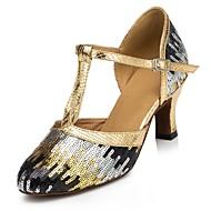 Na zakázku - Dámské - Taneční boty - Moderní - Flitry - Podpatek na míru - Modrá / Zlatá