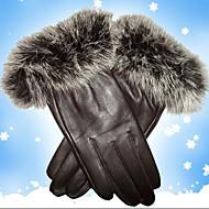 HWK echtem Schaffell Kaninchenhaar Handschuhe schwarz
