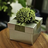 Green Lavender With Silver Tin Wedding Box-Set Of 12