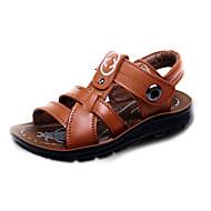 Boy's Sandals Spring / Summer Slide / Comfort / Open Toe Leather Flat Heel Magic Tape Black / Brown