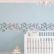 Wall Stickers Wall Decals, Cartoon Flower Vine And Birds PVC Wall Stickers