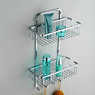 """Bathroom Shelf Stainless Steel Wall Mounted 300 x 130 x 370mm (11.8 x 5.1 x 14.6"""") Stainless Steel Contemporary"""
