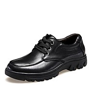 Men's Spring Summer Fall Winter Leather Patent Leather Office & Career Casual Flat Heel Lace-up Black Khaki