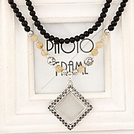 European Style Fashion Metal Opal Square Black Beads Long Necklace