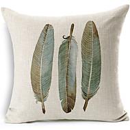 plumes motif coton / lin taie d'oreiller décoratif