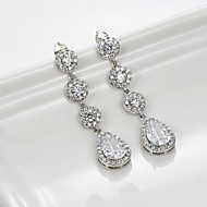 Chandelier Earrings Women's Brass Earring Cubic Zirconia