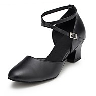 현대 여성의 발 뒤꿈치 낮은 발 뒤꿈치 가죽 buckie 댄스 신발