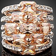 Statementringen Zirkonia Kubieke Zirkonia Legering Modieus verklaring Jewelry Geel Rood Sieraden Feest 1 stuks