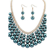 European Style Fashion Pearl Necklace Earrings Set-Set of 2(More Colors)