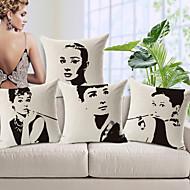conjunto de 5 Audrey Hepburn algodão / linho fronha decorativo