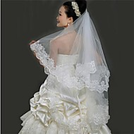 Wedding Veil One-tier Fingertip Veils Lace Applique Edge 59.06 in (150cm) Tulle White / Ivory / Red