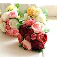 손으로 만든 실크 인공 차 꽃을 들고 짧은 라운드 결혼식 신부 부케 들러리 장미
