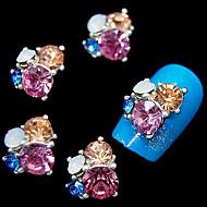 10шт блеск 3d горный хрусталь цветок DIY сплава аксессуары ногтей украшения