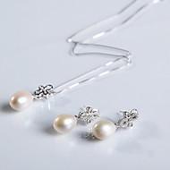 Women's Sterling Silver Jewelry Set Pearl