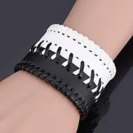 U7® Men's Jewelry Wrap Bracelet Platinum Plated Resizable Geometric Chunky Punk Leather Bracelets