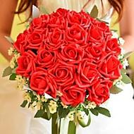 """Bouquets de Noiva Redondo Rosas Buquês Casamento Poliéster Seda 11.8""""(Aprox.30cm)"""