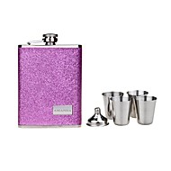 gepersonaliseerde gift 8oz rvs parel lederen heupfles set
