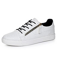 Men's Spring / Summer / Fall / Winter Comfort / Round Toe / Closed Toe Leatherette Casual Flat Heel Lace-up White / Gold / Navy Sneaker