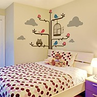Wall Stickers Wall Decals, Cartoon Tree And Owl PVC Wall Stickers.