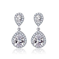 Double Teardrop Cubic Zircon Dangle Bridal Earrings for Women