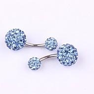 Kadın Vücut Mücevheri Navel & Bell Button Rings Paslanmaz Çelik imitasyon Pırlanta Eşsiz Tasarım Moda Mücevher Mavi Pembe Altın 1# 2#