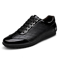 Men's Spring Summer Fall Comfort Leather Casual Flat Heel Lace-up Black