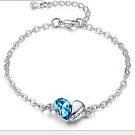 Ladies' Silver Chain Heart Love Bracelet with Cubic Zirconia