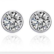 925 Women's Cubic Zirconia Round Stud Earrings